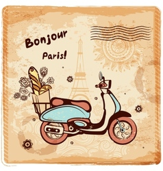 Vintage paris postcard vector