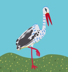 White stork standing on a meadow vector image