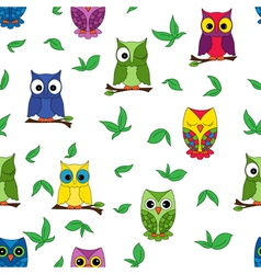 Owl seamless pattern vector