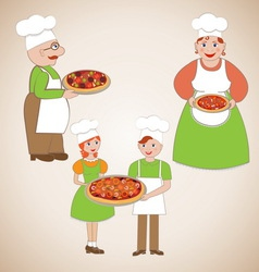 Family of chefs and delicious pizza vector