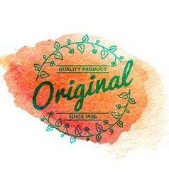 Vintage label with watercolor background vector