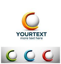3d c letter logo vector