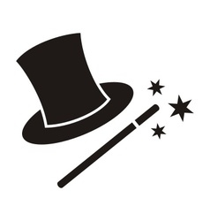 Magic wand and hat vector