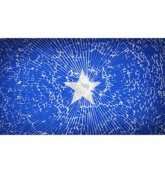 Flags somalia with broken glass texture vector