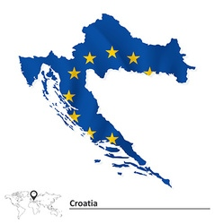 Map of croatia with european union flag vector