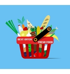 Basket with foods vector