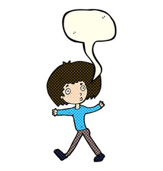 Cartoon surprised man walking with speech bubble vector