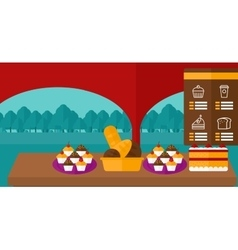 Background of bakery with table full of bread and vector