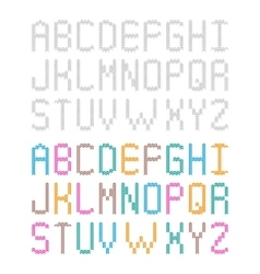 Decorative knitted crocheted alphabet Set of vector image