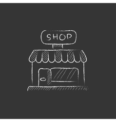 Shop drawn in chalk icon vector