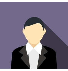 A man in a black suit icon flat styl vector