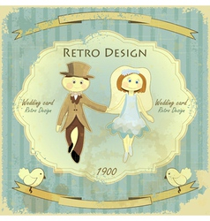 Retro wedding card vector