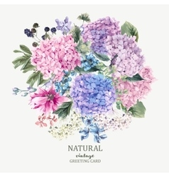 Floral greeting card with blooming hydrangea and vector