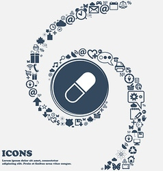 Pill icon in the center around the many beautiful vector