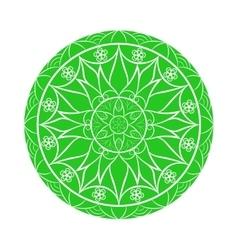 Green flower mandala over white vector