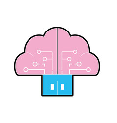Brain cloud data with circuits and door connection vector