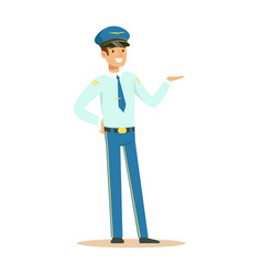 Captain of airplane stands on isolated white vector