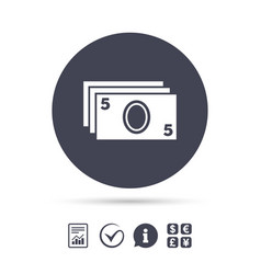 Cash sign icon paper money symbol vector