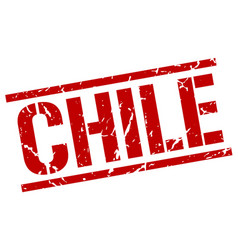 Chile red square stamp vector
