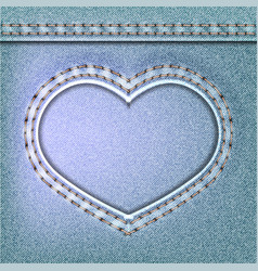 Denim valentines day background embroidered jeans vector