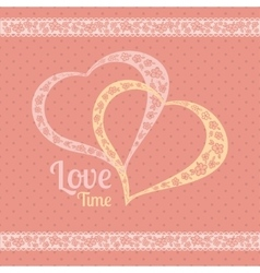 greeting card with polka dots and hearts vector image vector image