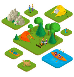 isometric colorful active recreation concept vector image