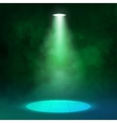 Lantern spotlight illuminates wooden scene Green vector image vector image