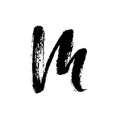 letter m handwritten by dry brush rough strokes vector image vector image