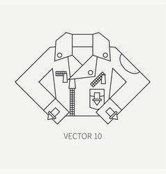 Line flat icon wear - leather jackets punk vector