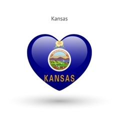 Love kansas state symbol heart flag icon vector