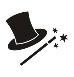 Magic wand and hat vector