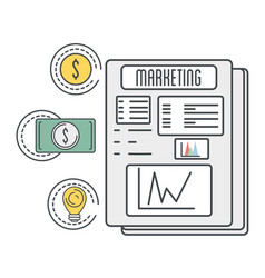 Marketing documents with coin and bill cash money vector