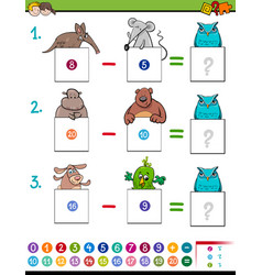Maths addition educational game with animals vector