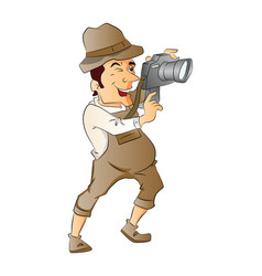 Photographer with digital camera vector