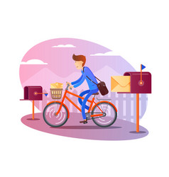 postman on bicycle delivers letters vector image