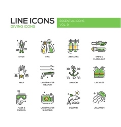 Scuba diving line design icons set vector