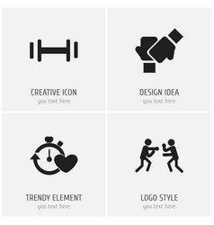 Set of 4 editable training icons includes symbols vector