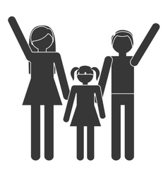 Silhouette family mother father daughter together vector