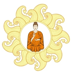 Sitting buddha in lotus pose in waves mandala vector