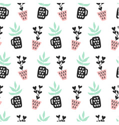 succulents plants seamless pattern vector image vector image
