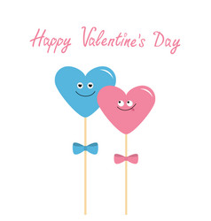 Two hearts on sticks with bows cute cartoon vector