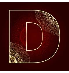 Vintage alphabet with floral swirls letter D vector image