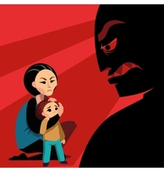 Woman hides the child from male silhouette vector