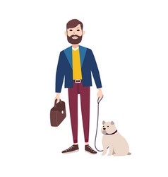 young smiling man with beard dressed in stylish vector image vector image