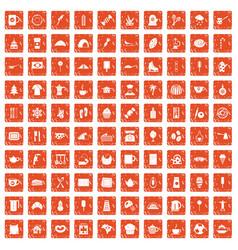 100 coffee icons set grunge orange vector