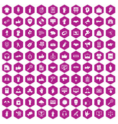 100 different gestures icons hexagon violet vector
