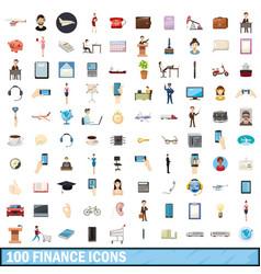 100 finance icons set cartoon style vector