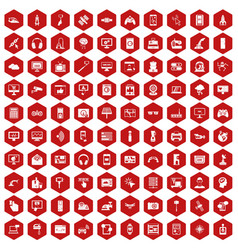 100 software icons hexagon red vector