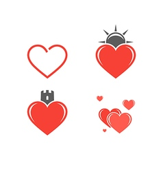 Abstract hearts Icon set vector image