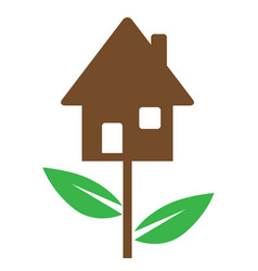 house and green leaves vector image